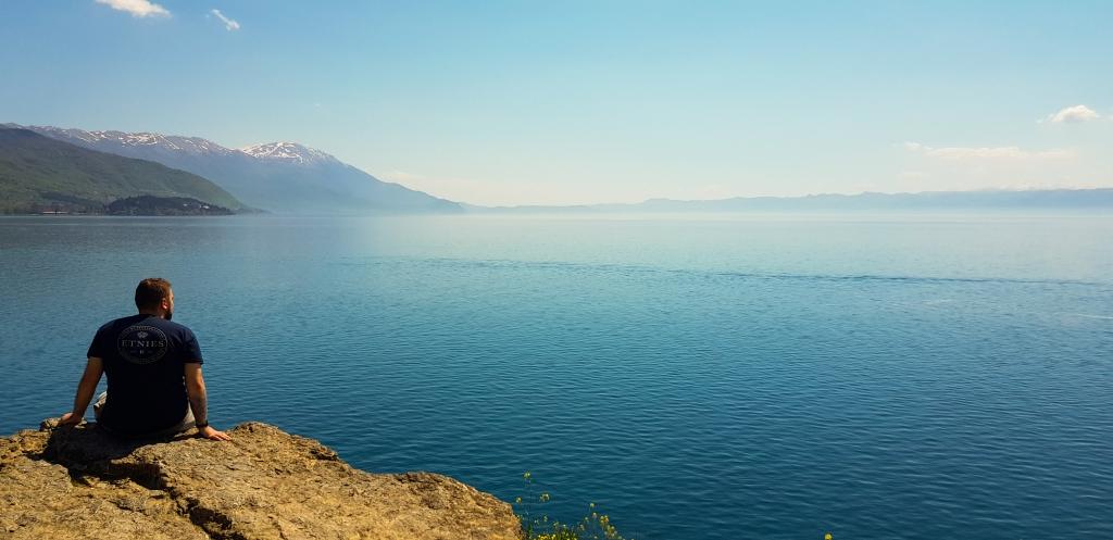 Man looking over Lake Ohrid